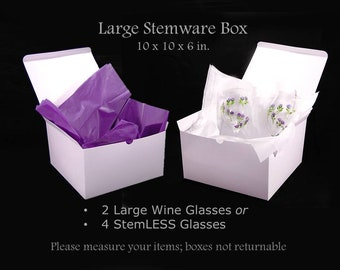 6 Extra Large Gift Boxes, Optional Box with Ribbon, Large Wine Glass Box, Stemless Wine Glass Box, XL Gift Boxes, Bridesmaid's Robe Gift Box