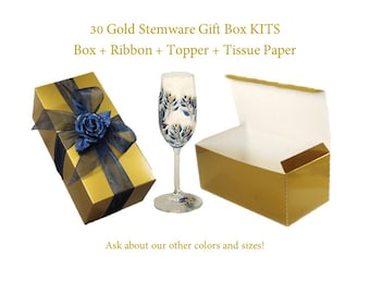 30 Gold Gift Box KITS incl Boxes + Choice of Ribbon + Topper Colors - 10 x 5 Gold Wine Glass Boxes, Gold Flute Boxes