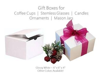 20 White Boxes, 6 x 6 x 4 White Favor Boxes, Mason Jar Boxes, Stemless Glass Box, Stemless Flute Box, Wedding Favor Boxes, White Favor Boxes