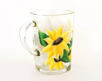 Sunflower Coffee Mug - Hand Painted Coffee Cup, Tea Mug - Fun Coffee Cups, Garden Lover Gifts, Ready to Ship Gifts for Mom, Get Well Gift