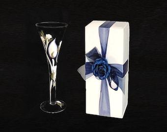 2 XL Trumpet Flute Boxes, Optional Ribbon + Topper - Box for Large Wine Glasses, Long Trumpet Flutes, 2 Wine Glass Box, Box for 2 Flutes