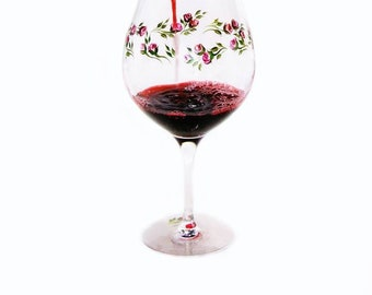 2 Hand Painted Crystal Red Wine Glasses with Red Roses - Hand Painted Wine Glasses, Wine Lover Gifts, Ready to Ship, Gifts for the Couple