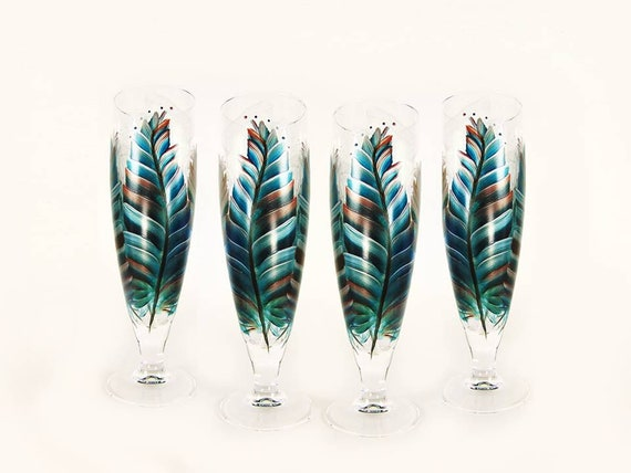 4 Southwest Style Beer Glasses Hand Painted Feathers