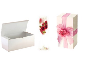 15 Wine Glass or Flute Favor Boxes with Optional Ribbon & Topper - 9 x 4 in Stemware Gift Box, Wine Glass Gift Box, Beer Glass Boxes