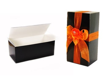 25 Halloween Boxes, Optional Ribbon + Topper, Black Wine Glass Boxes for Flutes, Stemware Gift Boxes, Flute Favor Boxes, Halloween Wedding