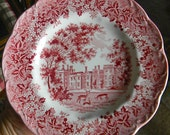 Vintage Red Transferware Plate English Manor Grazing Deer Blueberries and Ivy