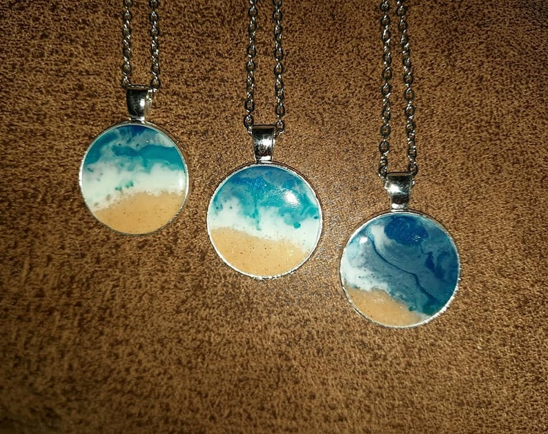 Resin Waves  Ocean Pendant  Beach Scene Pendant Necklace Made with Real Sand
