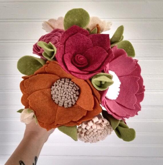 Wedding bouquet wool felt flower bouquet flower arrangement