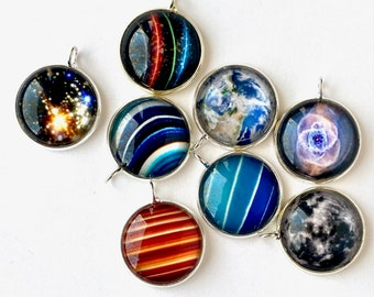 Colorful NASA Planet Pendant,  Earth Moon Necklace, Solar System Jewelry Gift For Teen. Saturn Rings Unique Wearable Art, Astronomy under 50