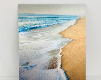 High Tide, Cape Cod Beach Photo, Dunes Wall Art, Metal Photo Prints, Aqua Blue Water, Wave on the Ocean, Unique Wedding Gift Idea, Seashore