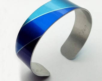 Abstract Designs Cuff Bracelet, Circle Pattern, Colorful Wearable Art, Aluminum Cuff, Bracelet for Her, Saturn Bracelet, Artisan Jewelry