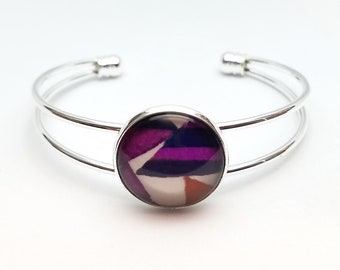 Silver Bangle Bracelet Cuffs, Museum Gift for her, Artistic theme, Colorful Jewelry, Studio Clearance Handmade Unique Modern Design