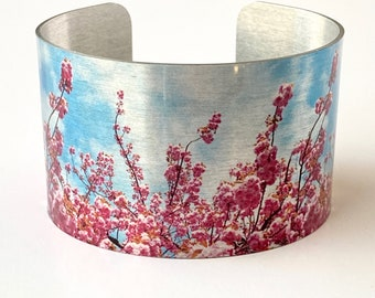 Cherry Blossom Jewelry, Cuff Bracelet, Botanical Gifts for Her, Cherry Blossom Bridal Shower, Mothers Day Gift Idea, Wedding Party Jewelry