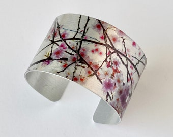 Aluminum Cuff Bracelet, Statement Jewelry, Photo Bracelet, Maid of Honor Gift, Cherry Blossom Art, Mothers Day Gift, Japanese Cherry Blossom