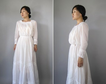 Vintage Edwardian Dress // White Early 20th Century Gown // Gibson Girl