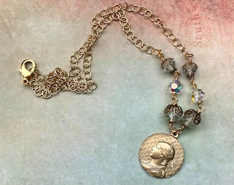 Joan of Arc Crystal Necklace