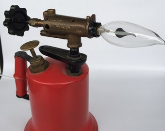Red Blow Torch Lamp