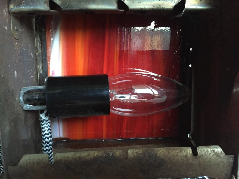 1930s Chrome Toaster lamp red glass