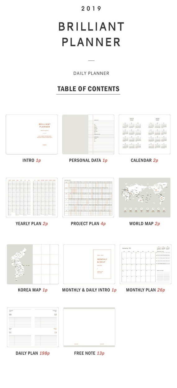 2019 dated brilliant monthly daily planner in 6 etsy