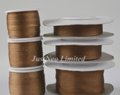 100 Pure Silk Embroidery Ribbon Tape Double Face Thin Taffeta 2mm-25mm (0.08 inch 1 inch), 278 Brown