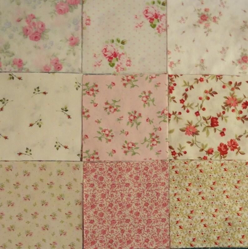 Quilting Squares 5 Squares Rose Fabric DIY Quilting image 0