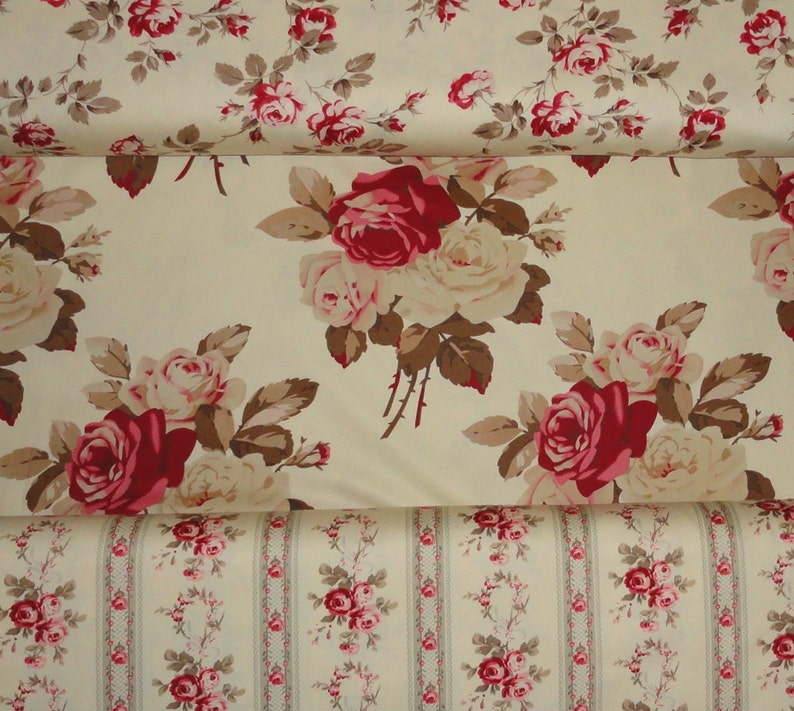 Rose Fabric Sewing Supplies Cotton Fabric Cabbage Rosesby image 0