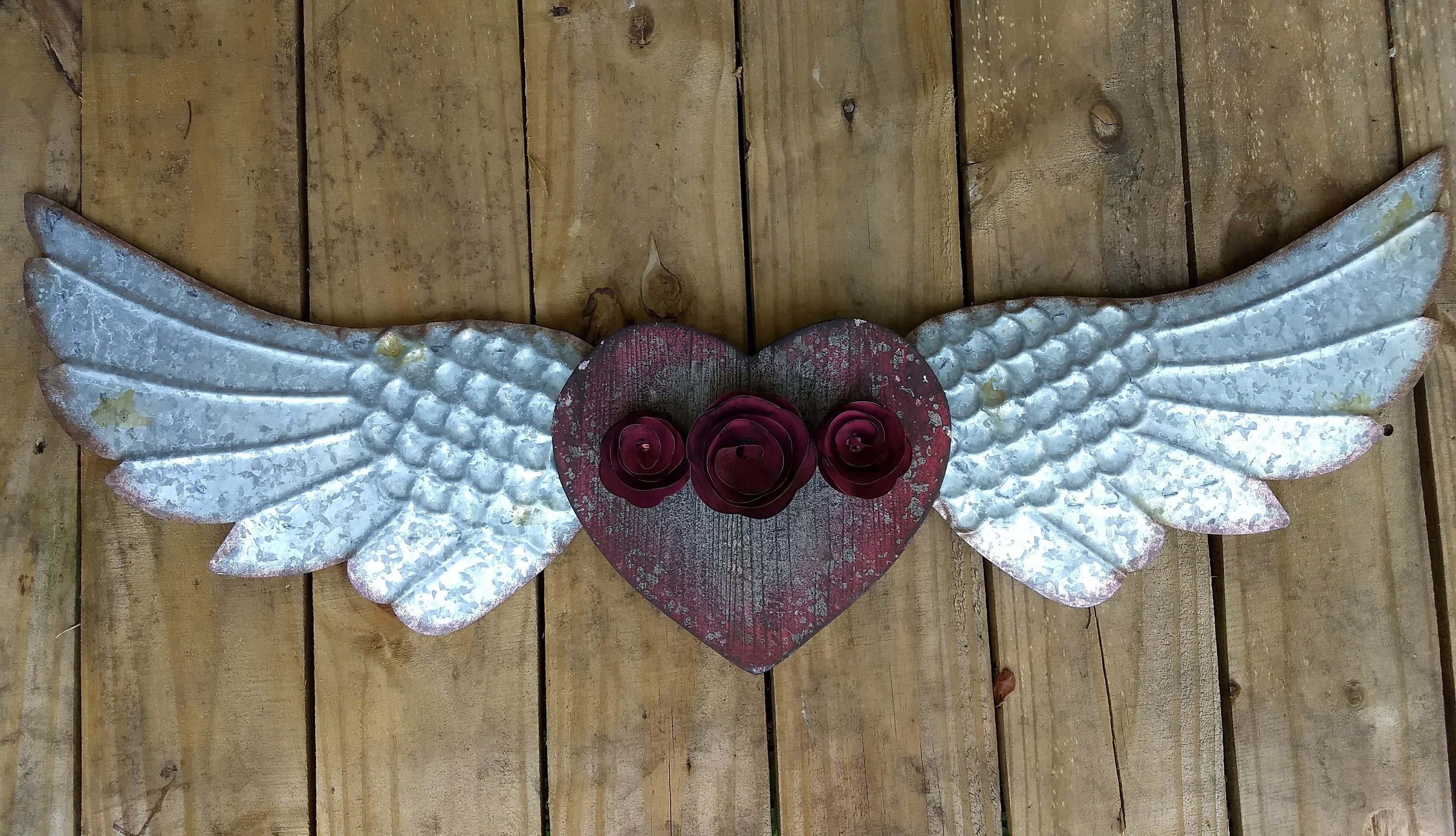 Red Metal Wall Decor: Angel Wings Metal Wall Decor Distressed Wood Red Roses