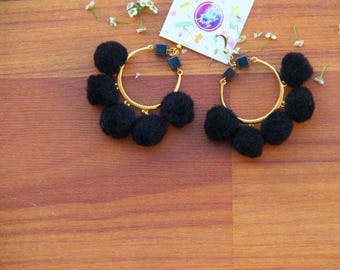 Gold Round Earrings with Black Pom Poms - FREE SHIPPING