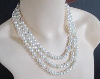 Necklace Triple Strand Faux Pearls Crystals Rhinestone Clasp Wedding Bridal