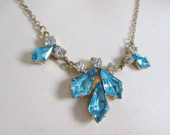 Vintage Necklace Turquoise and Clear Faceted Claw Set Rhinestones