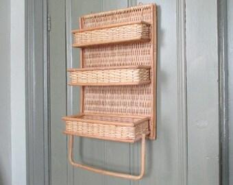 Bamboo Wicker Three Tier Shelf Towel Bar Rail Rack Wall Hanging