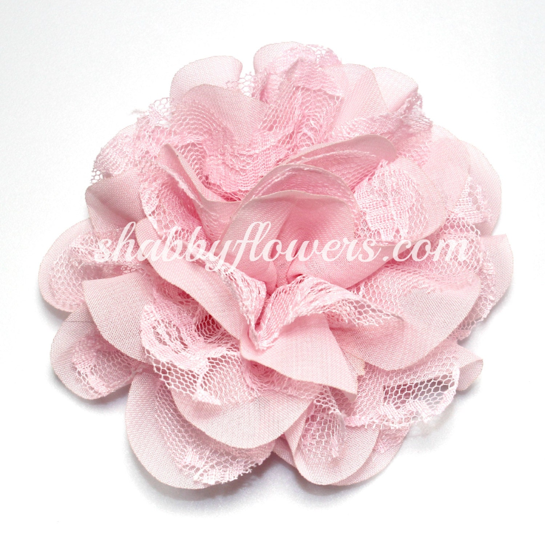 Pale Pink Chiffon Lace Flower Arabella Flower 4 Inch Etsy