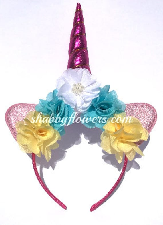 Pink or Blue Floral Unicorn DIY Kit Unicorn Headband Kit  9f8fc6e2c11