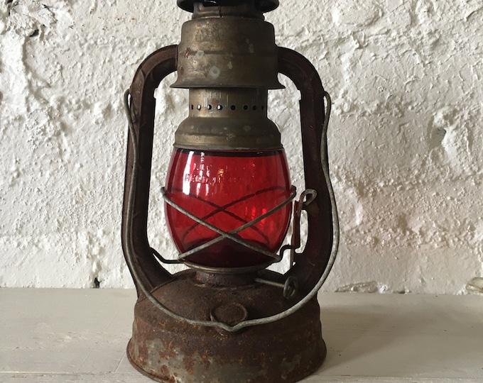 Featured listing image: SALE! Vintage Dietz Little Wizard Kerosene Lantern with Red Glass Globe - Oil Lamp, Kerosene Lamp, Rustic, Primitive, Decor, Lighting