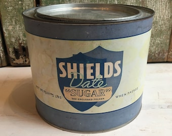 Vintage Shield's Date Sugar Crystals Tin Can - vintage storage tin, storage can, 5 lb tin can
