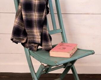 Antique Wooden Folding Chair - Slat Style Design - Vintage Turquoise Blue Color
