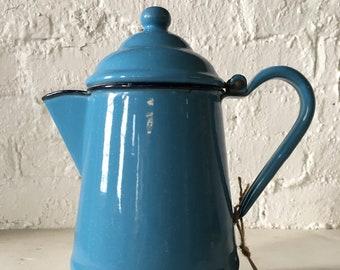 SALE! Vintage Bird's Egg Blue Enamel Coffee Pot,  Farmhouse - Cottage