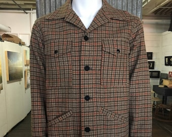Classic 1960's Pendleton Plaid Check Wool Jacket with 4 pockets - Vintage Clothing, Men's Jacket, Size Large