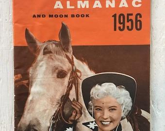 Vintage 1956 Rexall Family Almanac and Moon Book - Gloria DeHaven, Cowgirl, Zodiac, Vintage Drug Advertising