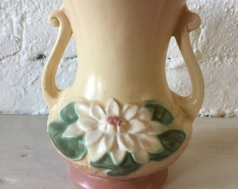 Vintage Hull Art Vase with Flower Design - Water Lily