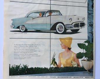 1956 Classic Oldsmobile Super 88 Holiday Coupe Magazine Ad Art - Plus Skol Suntan Lotion Ad