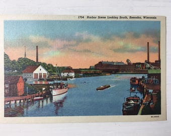 Vintage Harbor Scene of Kenosha, Wisconsin - Unused, Linen Postcard