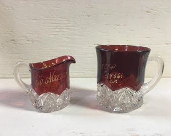 Antique Ruby Flash Glass Pitcher and Mug Set - Two Pieces