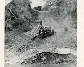 Vintage Magazine Photos - Aussie on Motorcycle vs. African Nude