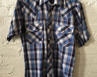 Vintage Recess Western Style Plaid Slim Fit Short Sleeve Shirt
