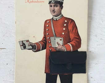 Unique Vintage 1920's Danish Postcard - Hilsen fra København - Greeting from Copenhagen - with fold out mailbag, Unused