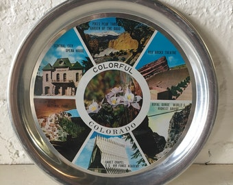 Vintage Colorado Souvenir Serving Tray - Aluminum Serving Tray, Visit Colorado Souvenir, Wall Decor