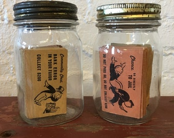 Vintage Monopoly Game Cards in Canning Jar