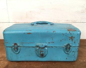 Vintage Union Steel Chest Fishing Tackle Box - Locking with Key - Birds Egg blue, Tool Box, Art Supply Box,