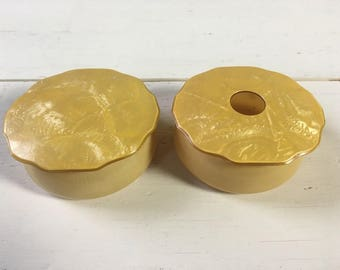 Vintage Yellow Pearl Design Powder Box Set - Set of Two
